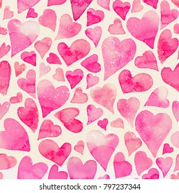 Seamless watercolor pattern with colorful hearts. Bright tints of pink. Hand-painted romantic texture for Valentine's Day, newborns, packaging, wedding, birthday, mother's day