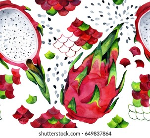 Seamless watercolor pattern with dragon fruits and pitahaya can be used for fabric and other surface design