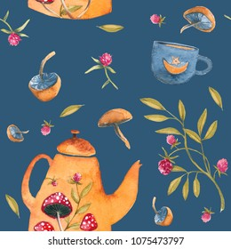 A seamless watercolor pattern with elements of a magical, fabulous summer tea drinking and berries, herbs, mushrooms.