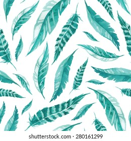Seamless watercolor pattern with feathers. Tribal mint color background