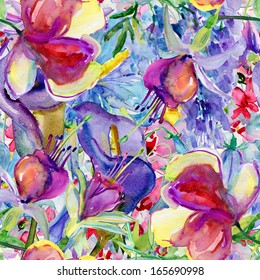 Seamless watercolor pattern with flowers and leafs