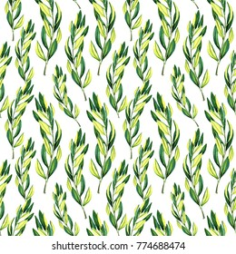 Seamless watercolor pattern with leaves