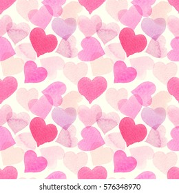 Seamless watercolor pattern with overlapped colorful hearts. Light soft tints of pink, girlish design. Hand-painted romantic texture for packaging, wedding, birthday, Valentine's Day, mother's day