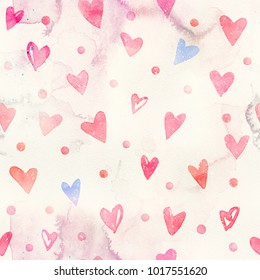Seamless watercolor pattern with pink hearts. Light and soft tints of pink and blue. Hand-painted romantic texture for Valentine's Day, packaging, wedding, birthday