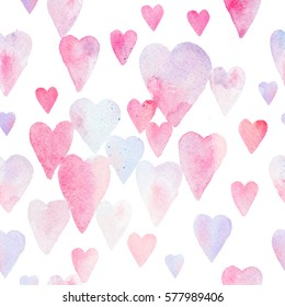 Seamless watercolor pattern with regular colorful hearts. Light and soft tints of pink, girlish design. Hand-painted romantic texture for packaging, wedding, birthday, Valentine's Day, mother's day