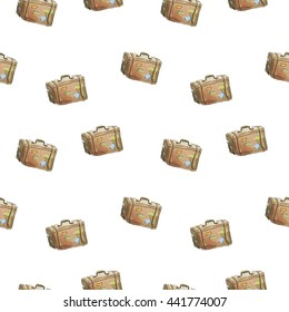 Seamless watercolor pattern with suitcase