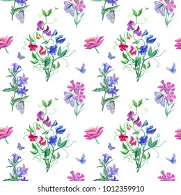 Seamless watercolor pattern with sweet peas and wildflowers on a white background.