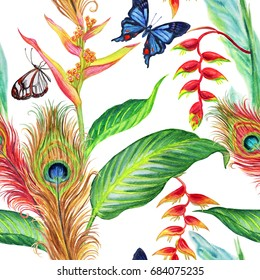 Seamless watercolor pattern with tropical plants, butterflies and peacock feathers.