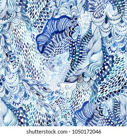 Seamless watercolor wave hand-drawn pattern, organic waves background seamlessly tiling