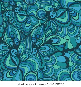 Seamless wave hand-drawn pattern, waves background (seamlessly tiling).Can be used for wallpaper, pattern fills, web page background,surface textures. Gorgeous seamless floral background
