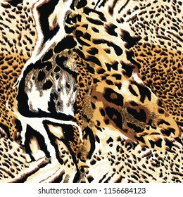 Seamless wild  leopard safari skin pattern. Mix of Tiger skin, jaguar skin, leopard print.