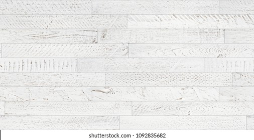 Seamless wood planks texture. Vintage white painted and softly weared tileable white wooden background flatlay top view.