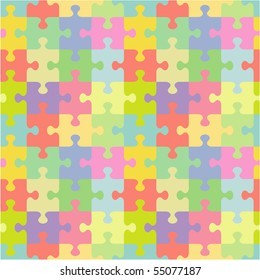 Seamless (you see 4 tiles) jigsaw puzzle pattern (print, background, wallpaper, swatch). For vector EPS see image 55077184