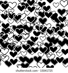 Seamlessly wallpaper with black hearts. Vector version is in my portfolio