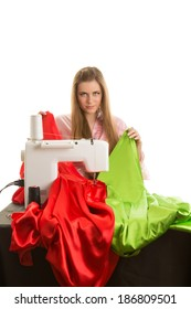 Seamstress at work. Isolated on white background