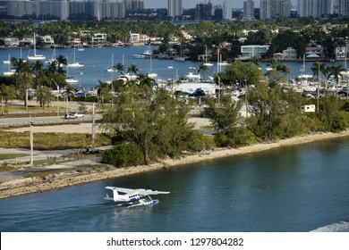 Seaplane departs from the waterways of Miami to the Caribbean