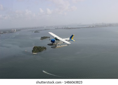 Seaplane flying over Miami and Biscayne Bay islands flown by Miami Seaplane Tours on August 17, 2019.