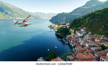 Seaplane flying over Varenna - Lake Como (IT)