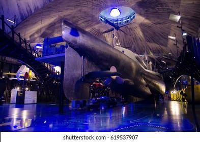 SEAPLANE HARBOUR, TALLINN, ESTONIA, 26th AUGUST 2014. Boats and submarine at Seaplane Harbour (Estonian Maritime Museum).