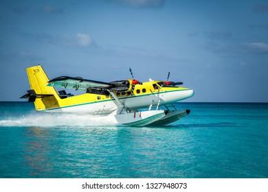 Seaplane. Landing of a seaplane. The takeoff of a seaplane