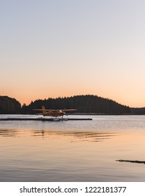 seaplane silhouette at sunrise