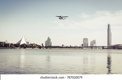 Seaplane taking off from Dubai Creek