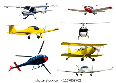 Seaplanes, airliners, gliders, light-sport airplanes isolated on white background