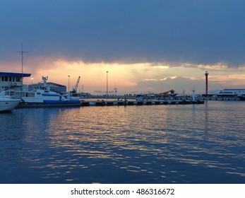 Seaport and marinas at sunset, Sochi, Russia, August 21, 2016