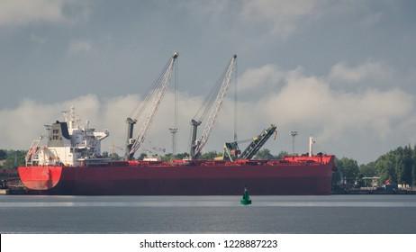SEAPORT - Merchant vessel at the port wharf in Swinoujscie