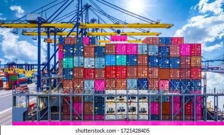 Seaport terminal container cargo freight shipping, Container cargo ship import export global business commercial trade logistic and transportation oversea worldwide by container cargo vessel ship.