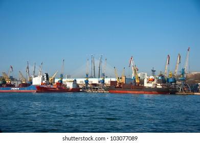 seaport of Vladivostok city, Russia
