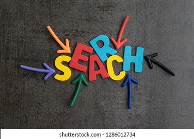 Search concept, best way finding website and content from the internet, result by SEO ranking, arrows pointing to word SEARCH at the center of cement wall chalkboard.