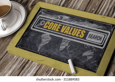 search for core values concept on chalkboard