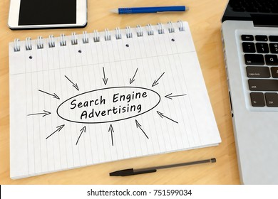 Search Engine Advertising - handwritten text in a notebook on a desk - 3d render illustration.