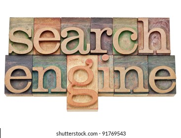 search engine - internet concept - isolated text in vintage wood letterpress printing blocks, stained by color inks