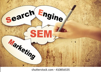 search engine marketing tag on dirty wall