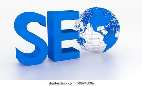 Search engine optimization concept with the o of seo replaced by a globe isolated on white 3D illustration