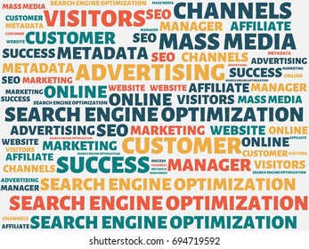 - SEARCH ENGINE OPTIMIZATION - image with words associated with the topic ONLINE MARKETING, word, image, illustration