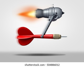 Search engine optimization symbol as a dart powered by a flying power motor  as a technology icon for faster internet service searching and optimized targeted online marketing as a 3D illustration.