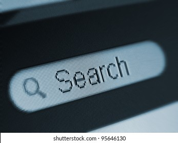 Search filed on a computer screen. Macro image.