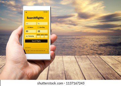 Search flights online mobile app. Imaginary application on mobile device.
