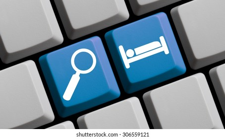 Search for hotels online - symbols on computer keyboard
