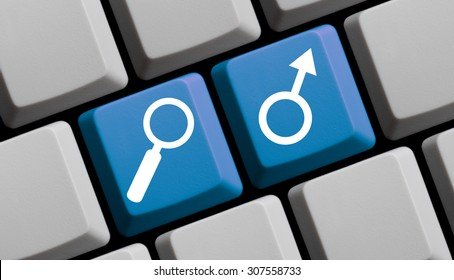Search for men online - symbols on computer keyboard