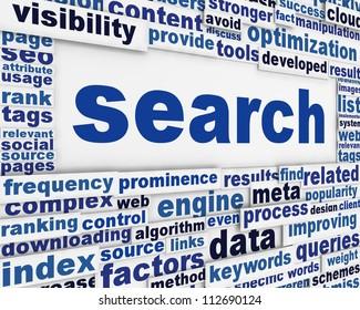 Search message conceptual design. New media optimization poster concept