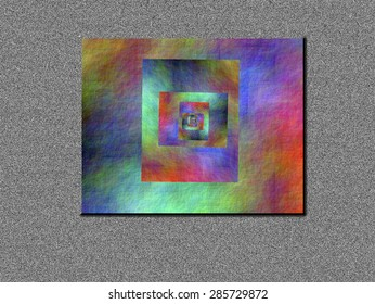 In search of the rainbow, allegory in all colors in rectangular space on gray background, abstract expressionism, abstract surrealism