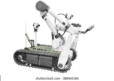 Search and rescue robot unit isolated on white background with clipping path