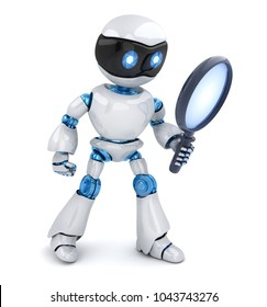 Search robot and lens on white background. 3d illustration