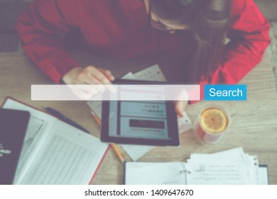 Search Seo Online Internet Browsing Web Concept. Website WWW Search Bar Magnifying Glass Graphic