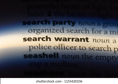 search warrant word in a dictionary. search warrant concept.