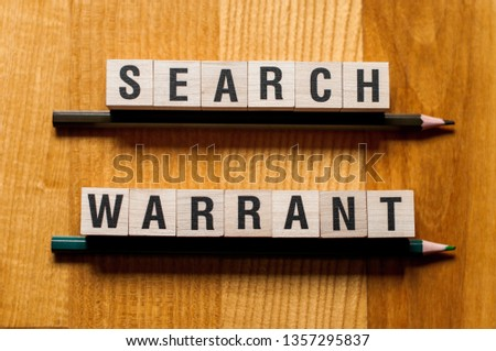 Search Warrant Words Concept Stock Photo (Edit Now